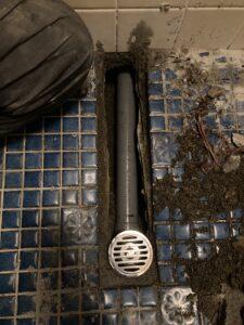 新設の排水口と屋内排水管